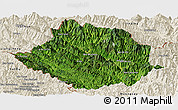 Satellite Panoramic Map of Muong Te, shaded relief outside