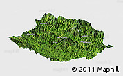 Satellite Panoramic Map of Muong Te, single color outside