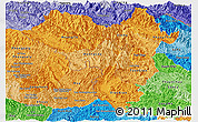 Political Shades Panoramic Map of Lai Chau
