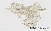 Shaded Relief Panoramic Map of Lai Chau, cropped outside