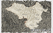 Shaded Relief Panoramic Map of Lai Chau, darken