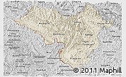 Shaded Relief Panoramic Map of Lai Chau, desaturated