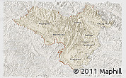 Shaded Relief Panoramic Map of Lai Chau, lighten