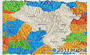 Shaded Relief Panoramic Map of Lai Chau, political outside