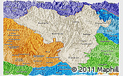 Shaded Relief Panoramic Map of Lai Chau, political shades outside
