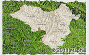 Shaded Relief Panoramic Map of Lai Chau, satellite outside