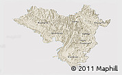 Shaded Relief Panoramic Map of Lai Chau, single color outside