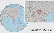 Gray Location Map of Tx.Lai Chau, hill shading