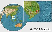 Satellite Location Map of Da Lat Town, highlighted parent region
