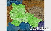 Political Shades 3D Map of Lang Son, darken