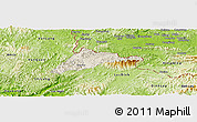 Shaded Relief Panoramic Map of Cao Loc, physical outside