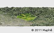Satellite Panoramic Map of Huu Lung, semi-desaturated