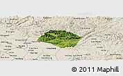 Satellite Panoramic Map of Huu Lung, shaded relief outside
