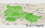Political Shades Panoramic Map of Lang Son, shaded relief outside