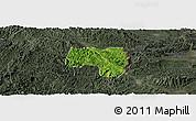 Satellite Panoramic Map of Van Lang, darken, semi-desaturated
