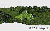 Satellite Panoramic Map of Bao Yen, darken