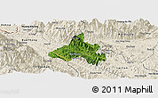 Satellite Panoramic Map of Bao Yen, shaded relief outside