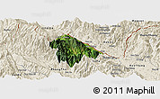 Satellite Panoramic Map of Bat Xat, shaded relief outside