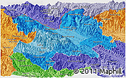 Political Shades Panoramic Map of Lao Cai