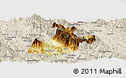 Physical Panoramic Map of Sa Pa, shaded relief outside