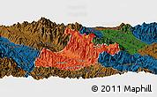 Political Panoramic Map of Sa Pa, darken