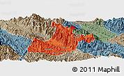 Political Panoramic Map of Sa Pa, semi-desaturated
