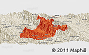 Political Panoramic Map of Sa Pa, shaded relief outside