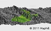 Satellite Panoramic Map of Sa Pa, desaturated