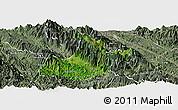 Satellite Panoramic Map of Sa Pa, semi-desaturated