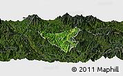 Satellite Panoramic Map of Than Uyen, darken