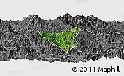 Satellite Panoramic Map of Than Uyen, desaturated