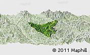 Satellite Panoramic Map of Than Uyen, lighten