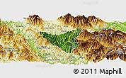 Satellite Panoramic Map of Than Uyen, physical outside