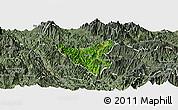 Satellite Panoramic Map of Than Uyen, semi-desaturated