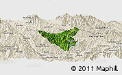 Satellite Panoramic Map of Than Uyen, shaded relief outside