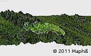 Satellite Panoramic Map of Van Ban, darken