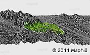 Satellite Panoramic Map of Van Ban, desaturated