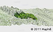 Satellite Panoramic Map of Van Ban, lighten