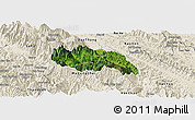 Satellite Panoramic Map of Van Ban, shaded relief outside