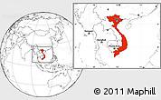 Blank Location Map of Vietnam