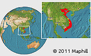 Flag Location Map of Vietnam, satellite outside