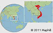 Flag Location Map of Vietnam, savanna style outside