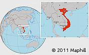 Gray Location Map of Vietnam