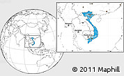 Political Location Map of Vietnam, blank outside