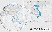 Political Location Map of Vietnam, lighten, desaturated