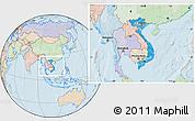 Political Location Map of Vietnam, lighten, land only