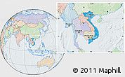 Political Location Map of Vietnam, lighten