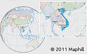 Political Location Map of Vietnam, lighten, semi-desaturated