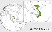 Satellite Location Map of Vietnam, blank outside