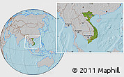 Satellite Location Map of Vietnam, gray outside, hill shading